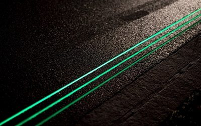 Glowing road lines